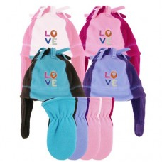 00452   -   GIRLS MICROFLEECE LOVE TRAPPER & MITTEN SET