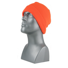 00792   -   BLAZE ORANGE ACRYLIC KNIT SUPER-STRETCH CUFF HAT