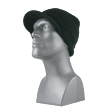 00824B   -   ACRYLIC KNIT RIBBED VISOR CUFF HAT  -  BLACK ONLY