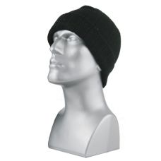 00848B   -   ACRYLIC KNIT RIBBED CUFF HAT - BLACK ONLY