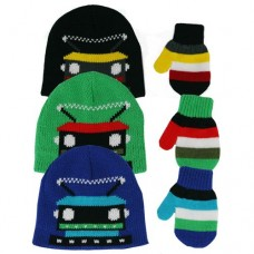 32112   -   BOYS KNIT ROBOT BEANIE AND STRETCH MITTEN SET