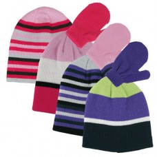 37012  -  GIRLS ACRYLIC STRIPED SETS