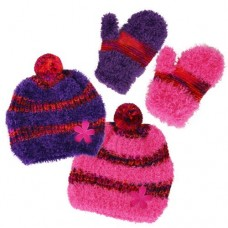 37015   -   GIRLS EYELASH BEANIE & MITTEN SET