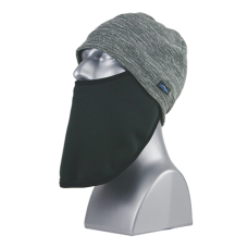 60122   -   VARIEGATED FLEECE BEANIE FACE MASK -  CHARCOAL ONLY