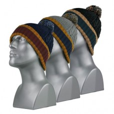 60130  -  CABLE-KNIT CUFF HAT WITH POM