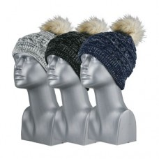 75038 -  MARLED ACRYLIC BEANIE WITH FUR POM