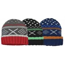 57216  -  BOYS FAIR ISLE CUFF HAT - ONE SIZE