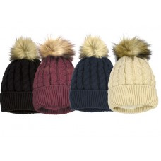 75036 -  CABLE ACRYLIC HAT WITH FAUX FUR POM