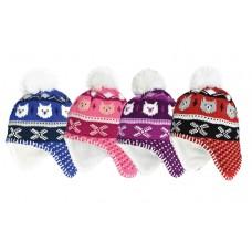 37037  -  BOYS & GIRLS BEAR FACES PERUVIAN HAT