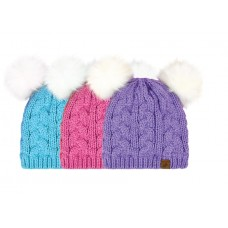 44162   -  DOUBLE FAUX FUR POM CUFF HAT
