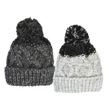75032 -  CABLE SPARKLE HAT WITH OVERSIZE POM