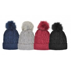 75034 -  SATIN CHENILLE HAT WITH FAUX FUR POM