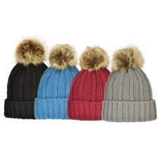75035 - RIBBED ACRYLIC HAT WITH FAUX FUR POM