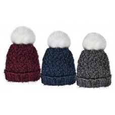 75048  -   PLUSH LINED CUFF HAT, FAUX FUR POM